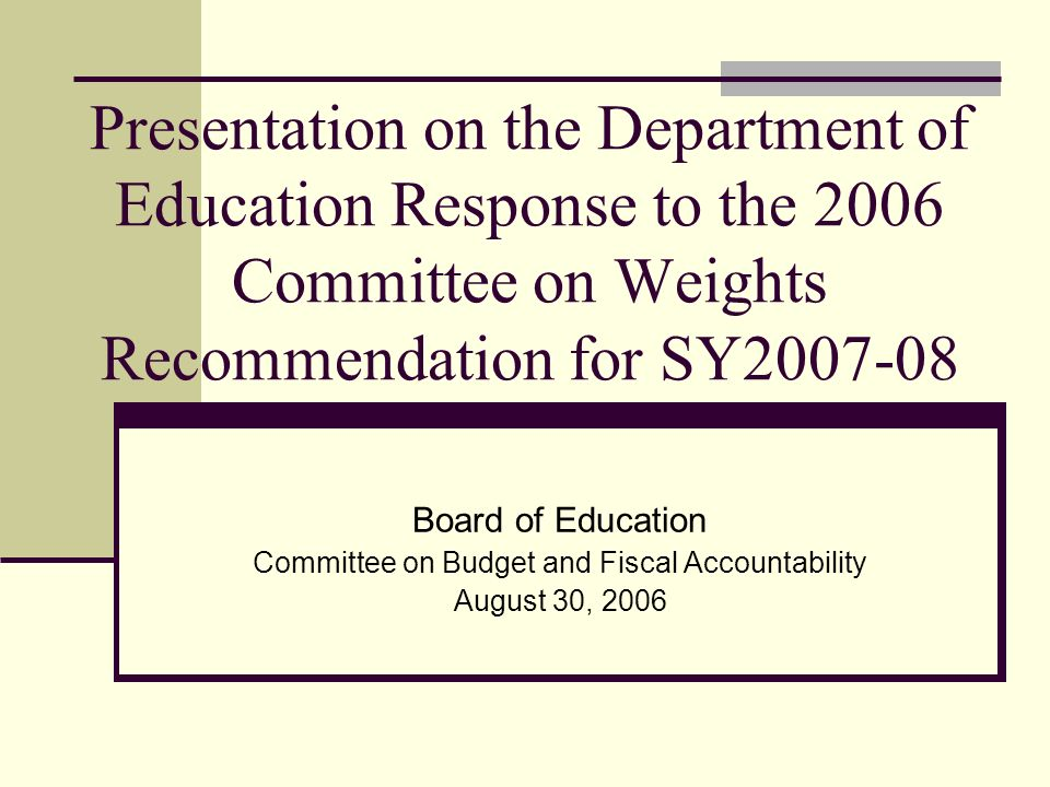 The Department wants to thank the Committee for … Its hard work and recommendations.