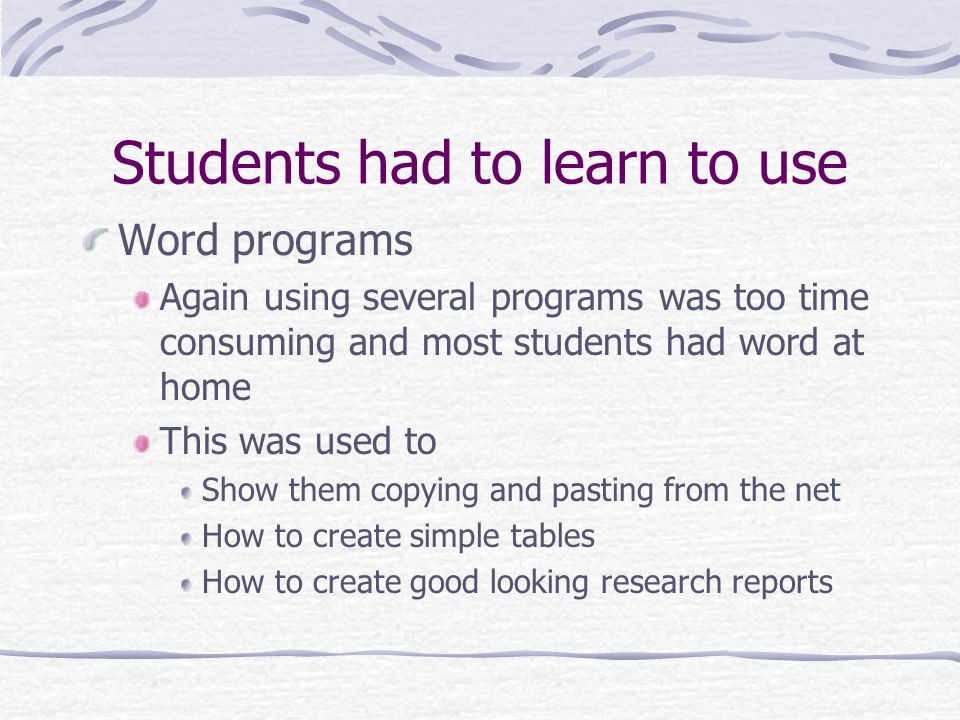 Students had to learn to use Word programs Again using several programs was too time consuming and most students had word at home This was used to Sho