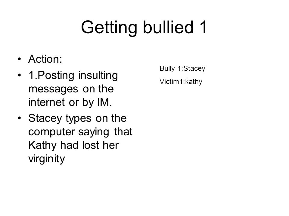 Getting bullied 1 Action: 1.Posting insulting messages on the internet or by IM.