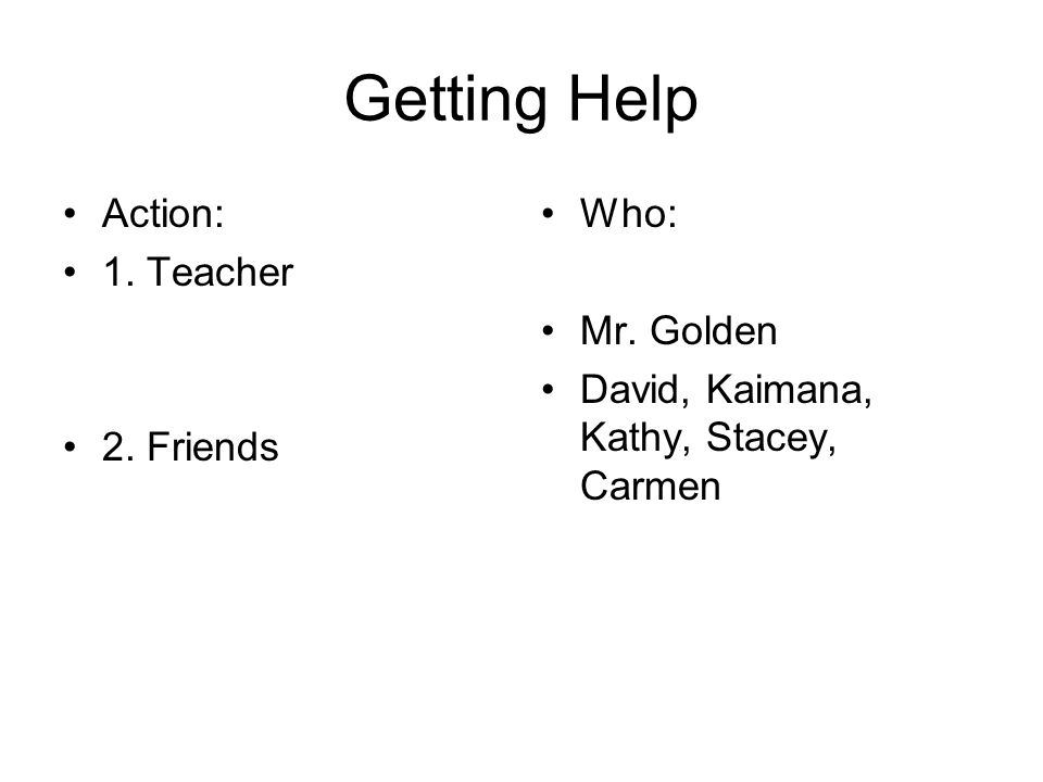 Getting Help Action: 1. Teacher 2. Friends Who: Mr. Golden David, Kaimana, Kathy, Stacey, Carmen