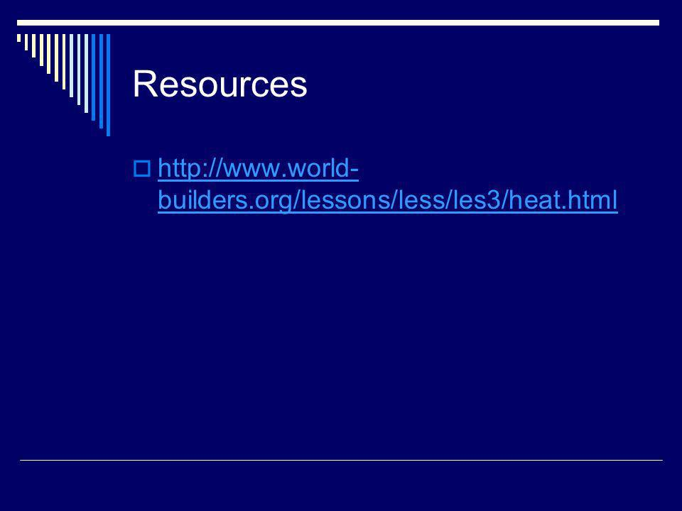 Resources http://www.world- builders.org/lessons/less/les3/heat.html http://www.world- builders.org/lessons/less/les3/heat.html