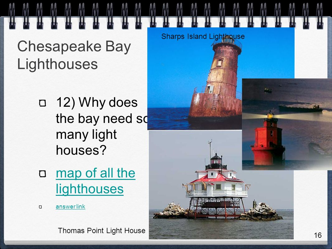 Chesapeake Bay Lighthouses 12) Why does the bay need so many light houses.