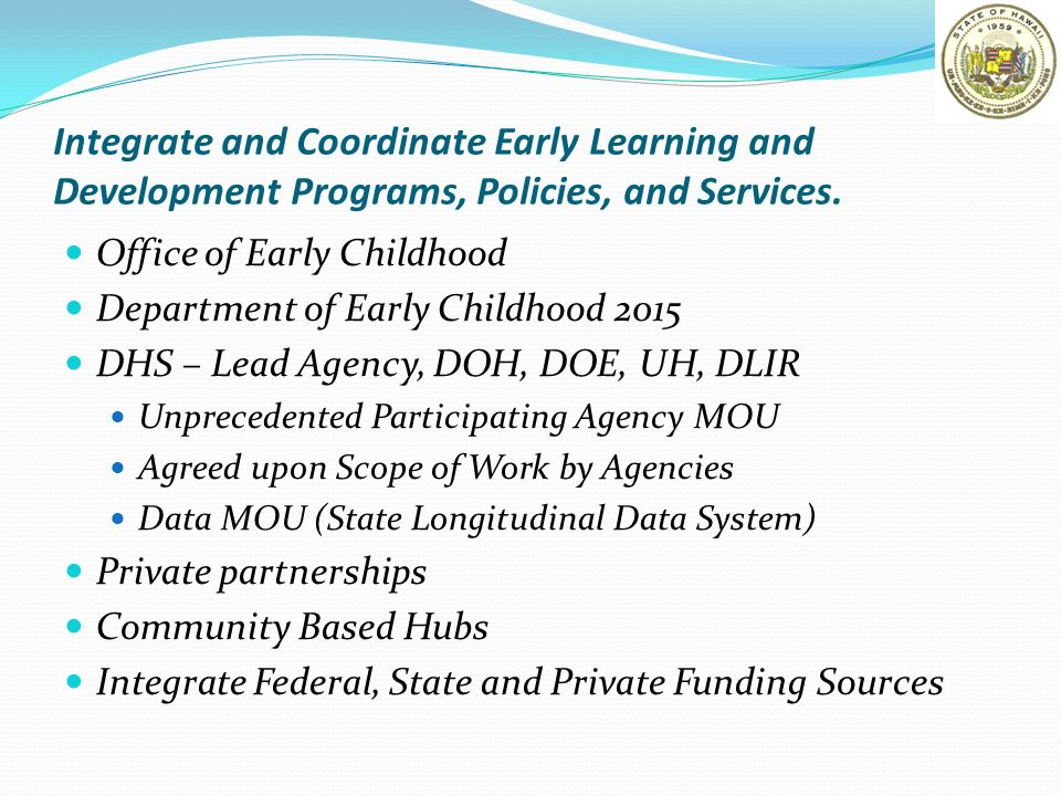 Integrate and Coordinate Early Learning and Development Programs, Policies, and Services. Office of Early Childhood Department of Early Childhood 2015