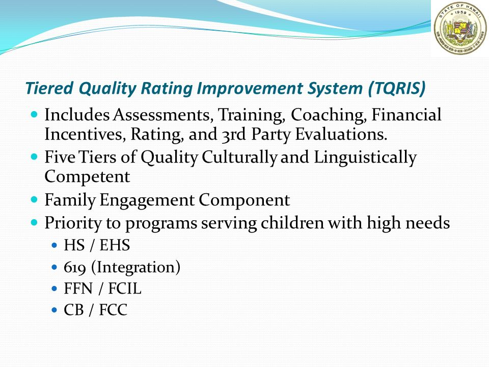 Tiered Quality Rating Improvement System (TQRIS) Includes Assessments, Training, Coaching, Financial Incentives, Rating, and 3rd Party Evaluations. Fi