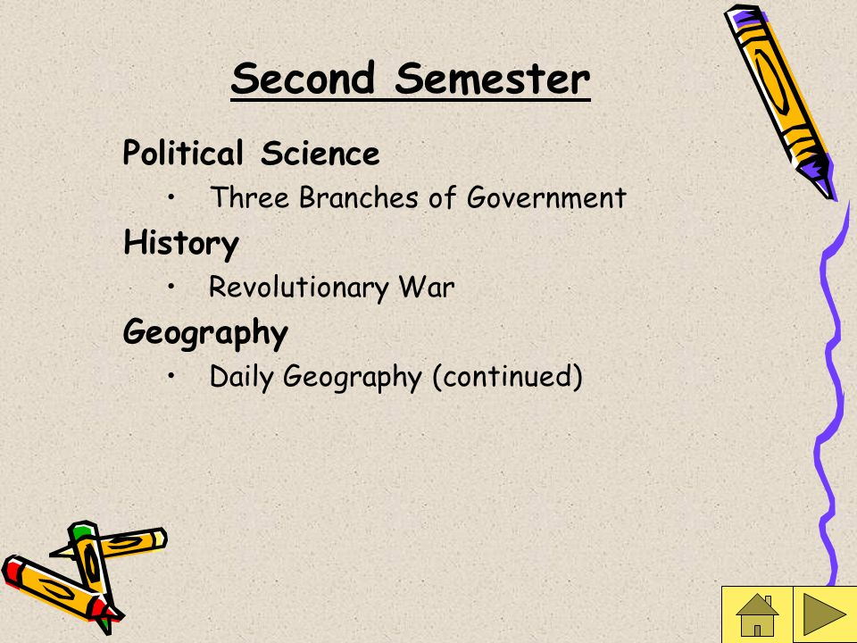 Second Semester Political Science Three Branches of Government History Revolutionary War Geography Daily Geography (continued)