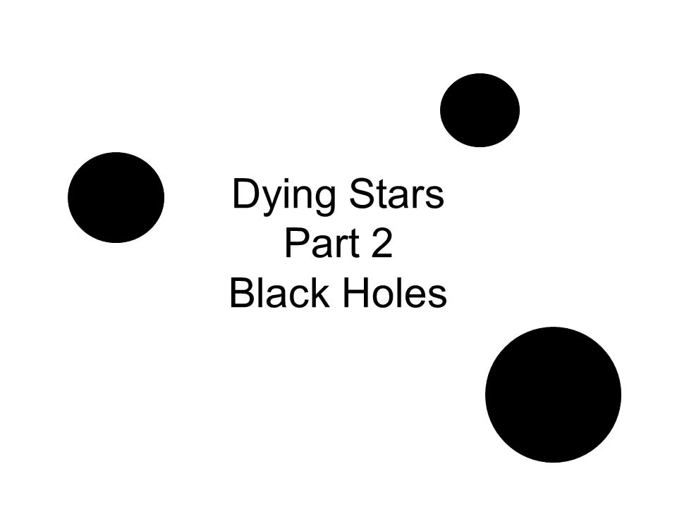 Dying Stars Part 2 Black Holes