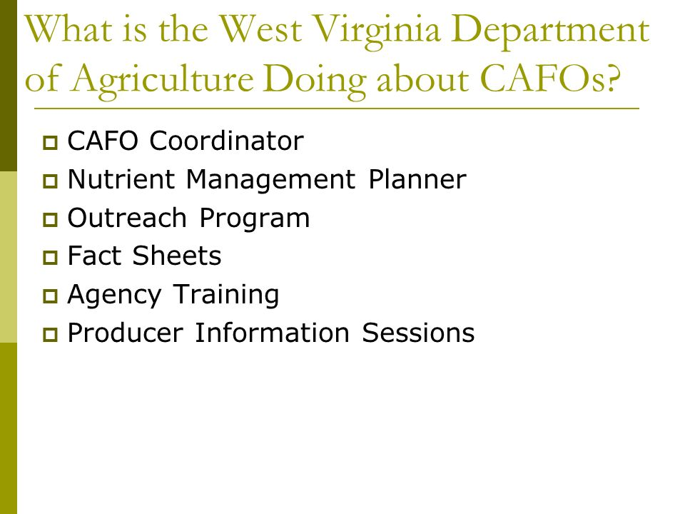 What is the West Virginia Department of Agriculture Doing about CAFOs.