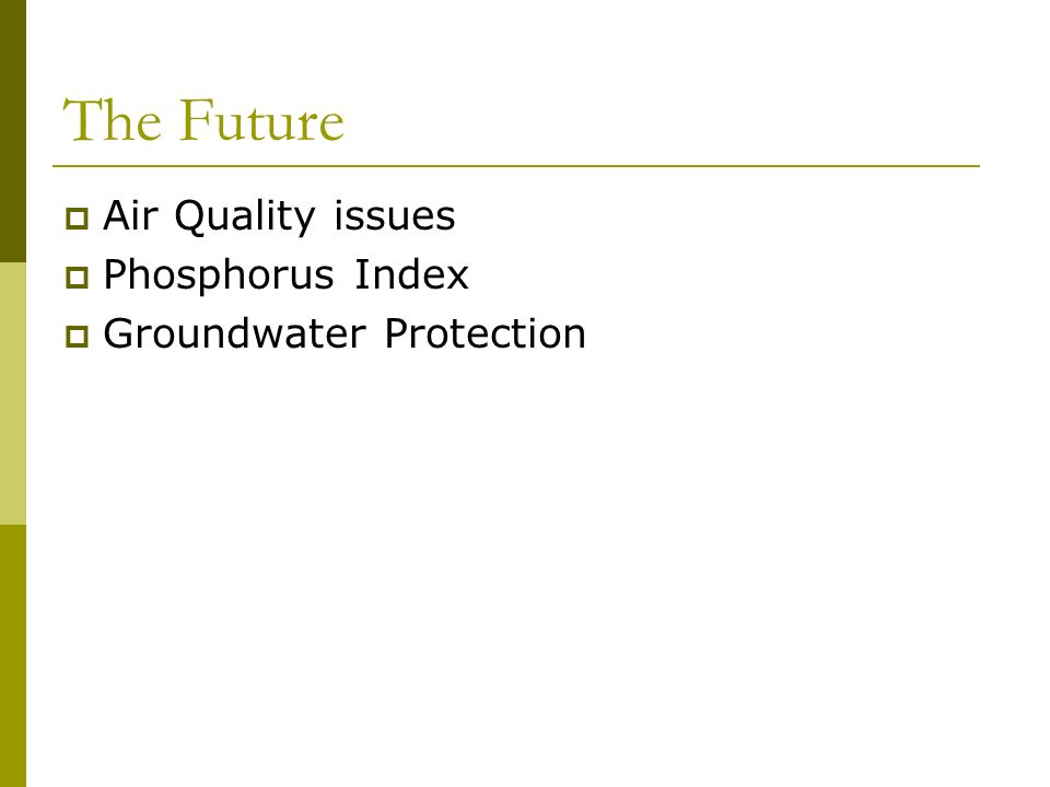 The Future Air Quality issues Phosphorus Index Groundwater Protection