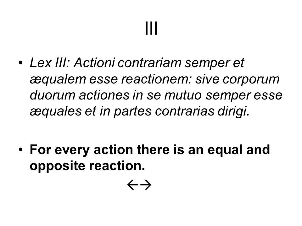 III Lex III: Actioni contrariam semper et æqualem esse reactionem: sive corporum duorum actiones in se mutuo semper esse æquales et in partes contrarias dirigi.
