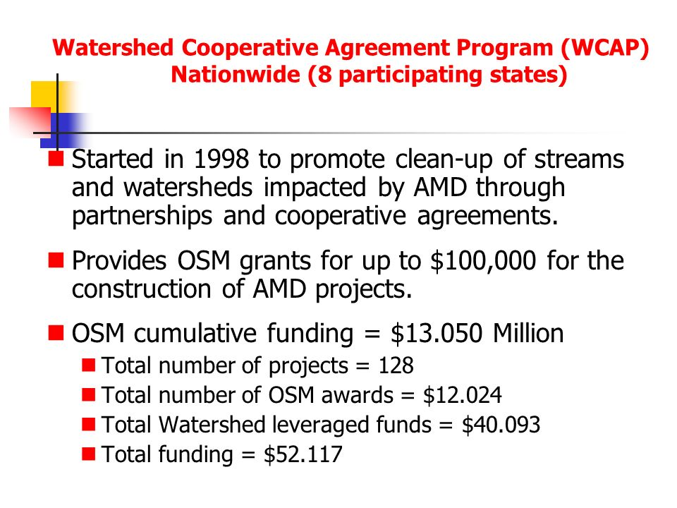 Watershed Cooperative Agreement Program (WCAP) Nationwide (8 participating states) Started in 1998 to promote clean-up of streams and watersheds impacted by AMD through partnerships and cooperative agreements.