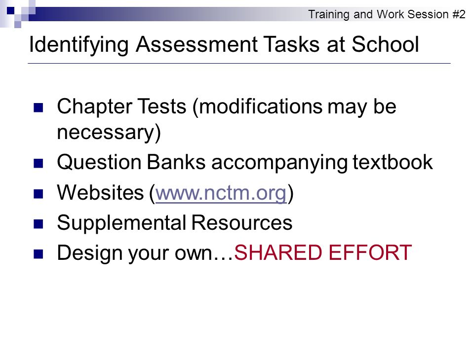 Chapter Tests (modifications may be necessary) Question Banks accompanying textbook Websites (www.nctm.org)www.nctm.org Supplemental Resources Design