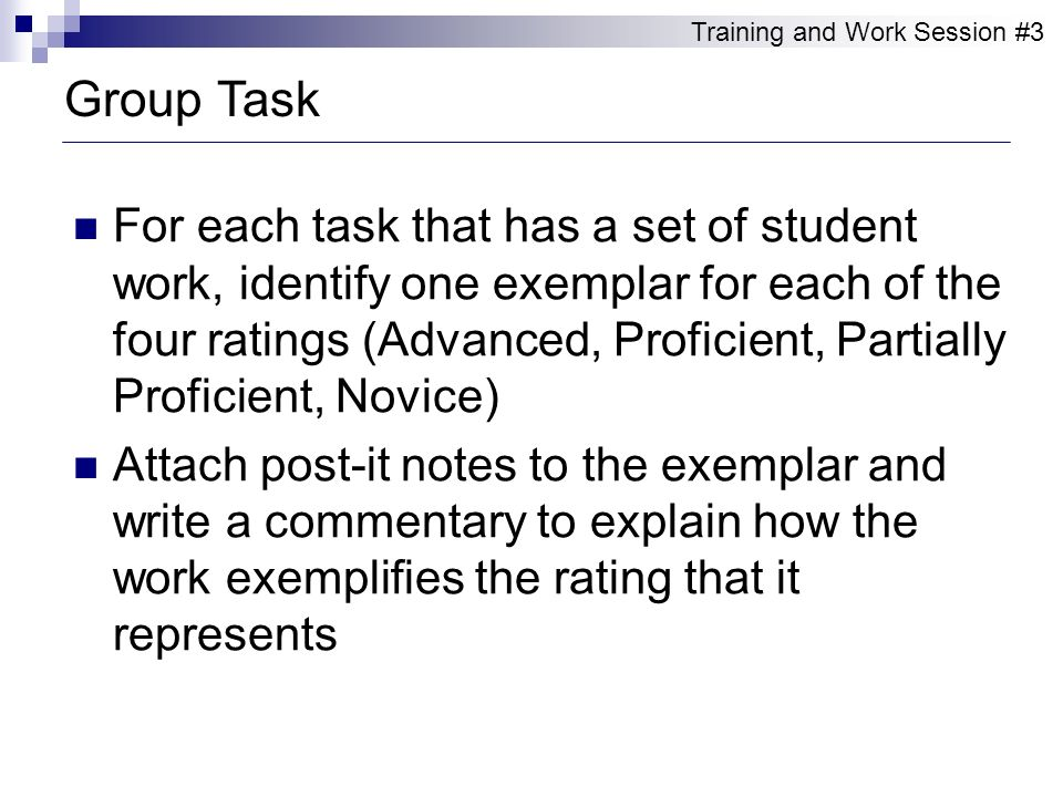 For each task that has a set of student work, identify one exemplar for each of the four ratings (Advanced, Proficient, Partially Proficient, Novice)