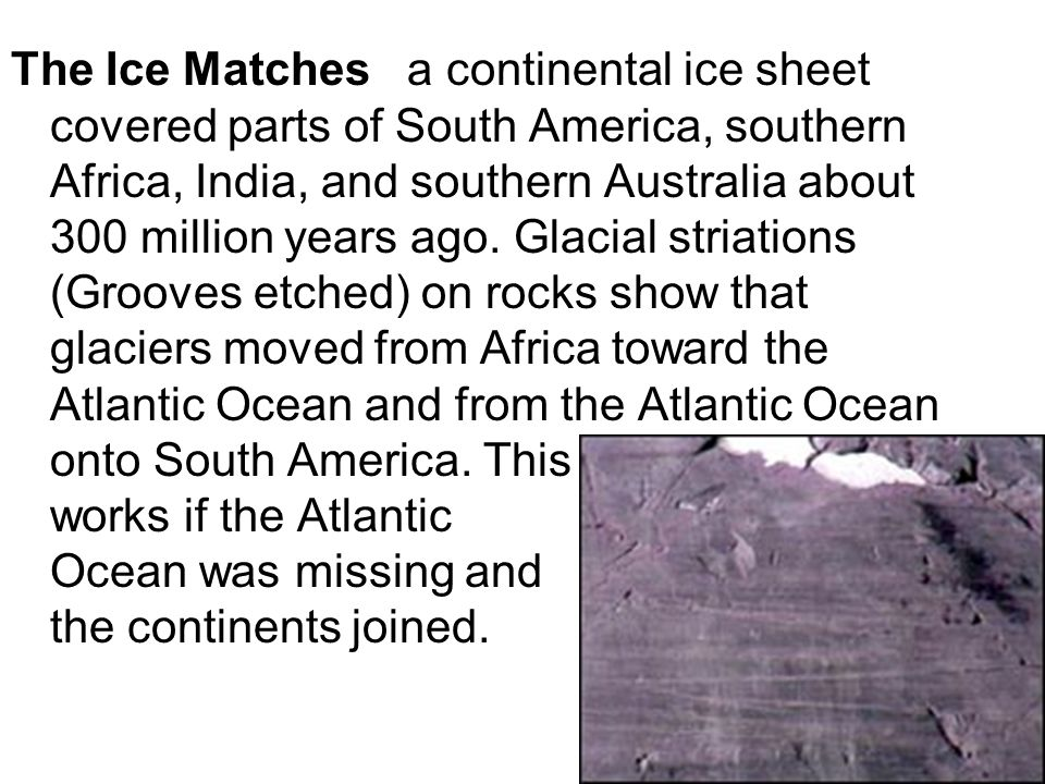 The Ice Matches a continental ice sheet covered parts of South America, southern Africa, India, and southern Australia about 300 million years ago. Gl