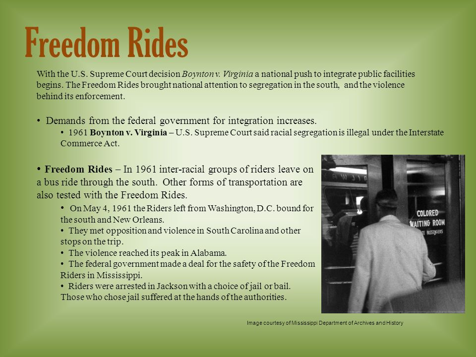 Freedom Rides With the U.S. Supreme Court decision Boynton v.