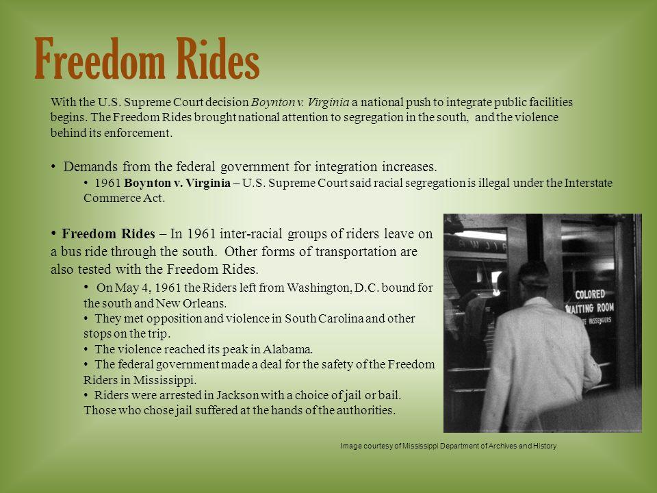 Freedom Rides With the U.S.Supreme Court decision Boynton v.
