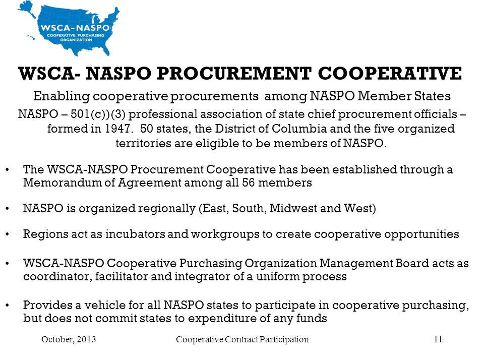 October, 2013Cooperative Contract Participation11 WSCA- NASPO PROCUREMENT COOPERATIVE Enabling cooperative procurements among NASPO Member States NASP