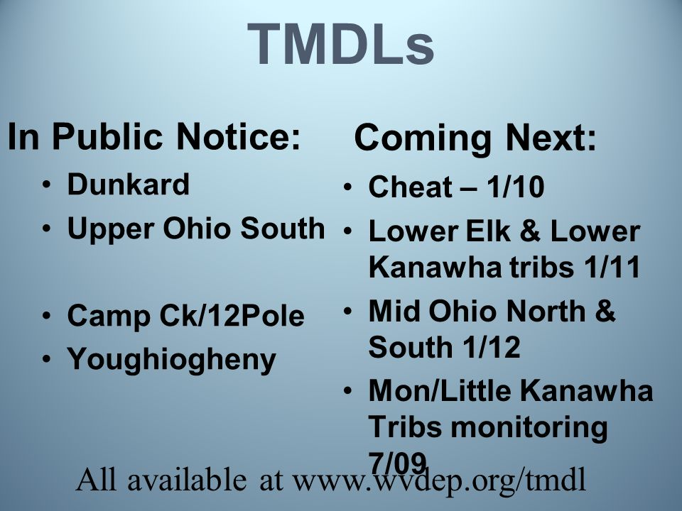 TMDLs In Public Notice: Dunkard Upper Ohio South Camp Ck/12Pole Youghiogheny Coming Next: Cheat – 1/10 Lower Elk & Lower Kanawha tribs 1/11 Mid Ohio North & South 1/12 Mon/Little Kanawha Tribs monitoring 7/09 All available at www.wvdep.org/tmdl