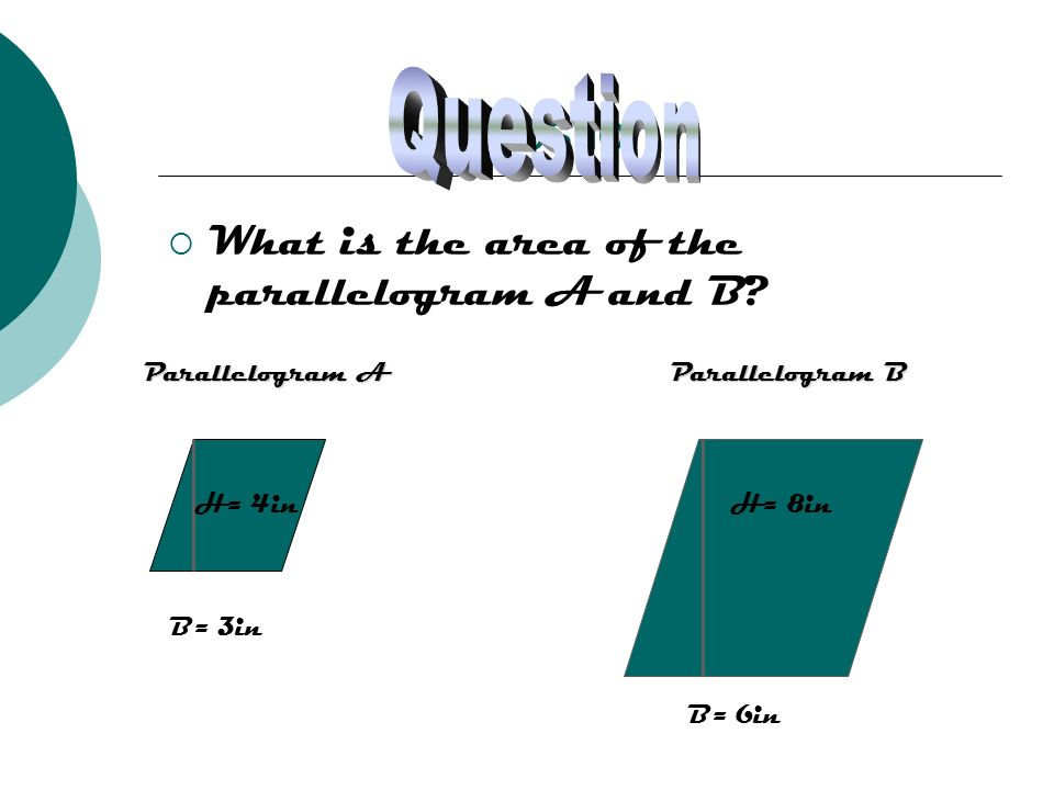 Question What is the area of the parallelogram A and B? B= 6in H= 8in B= 3in H= 4in Parallelogram A Parallelogram B