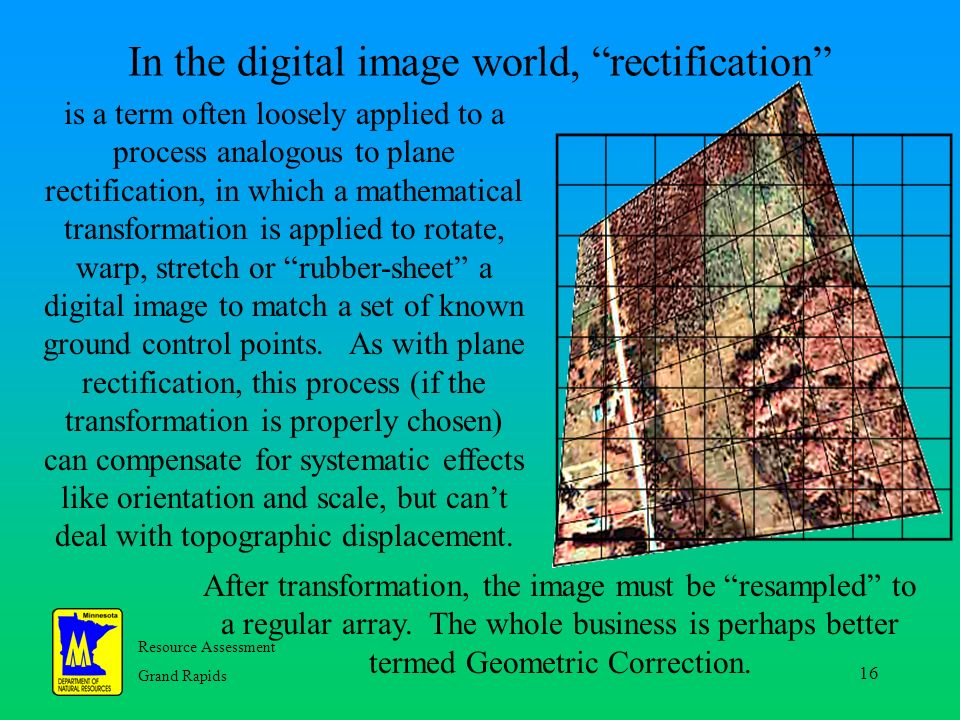 Resource Assessment Grand Rapids 16 In the digital image world, rectification is a term often loosely applied to a process analogous to plane rectification, in which a mathematical transformation is applied to rotate, warp, stretch or rubber-sheet a digital image to match a set of known ground control points.