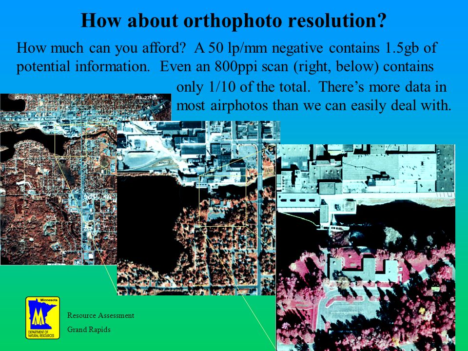 Resource Assessment Grand Rapids 31 How about orthophoto resolution.