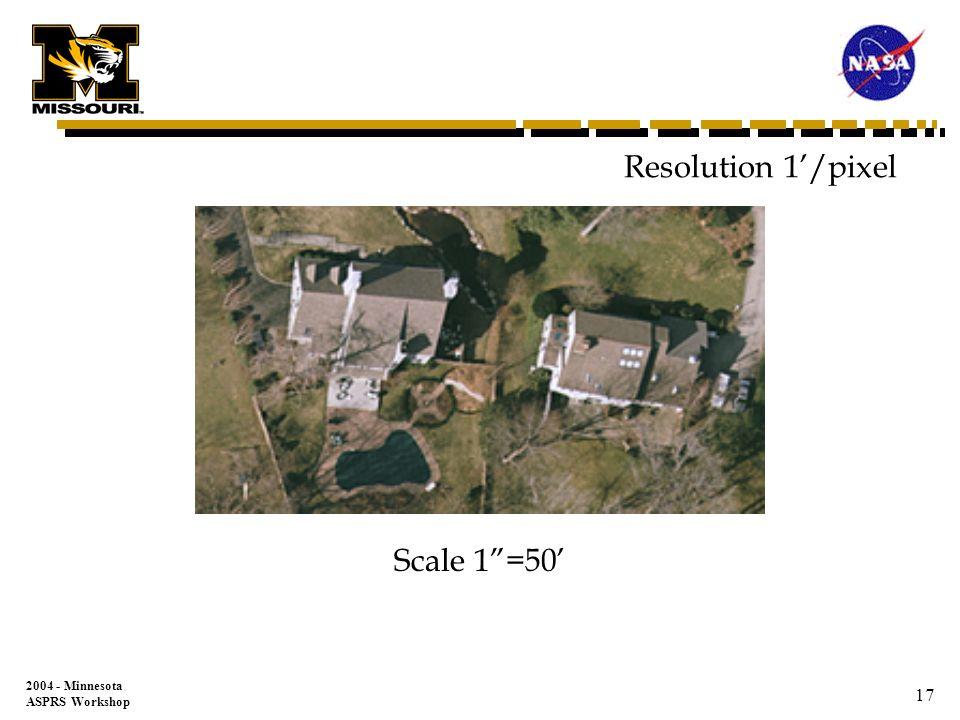 2004 - Minnesota ASPRS Workshop 16 Resolution 0.5/pixel Scale 1=50