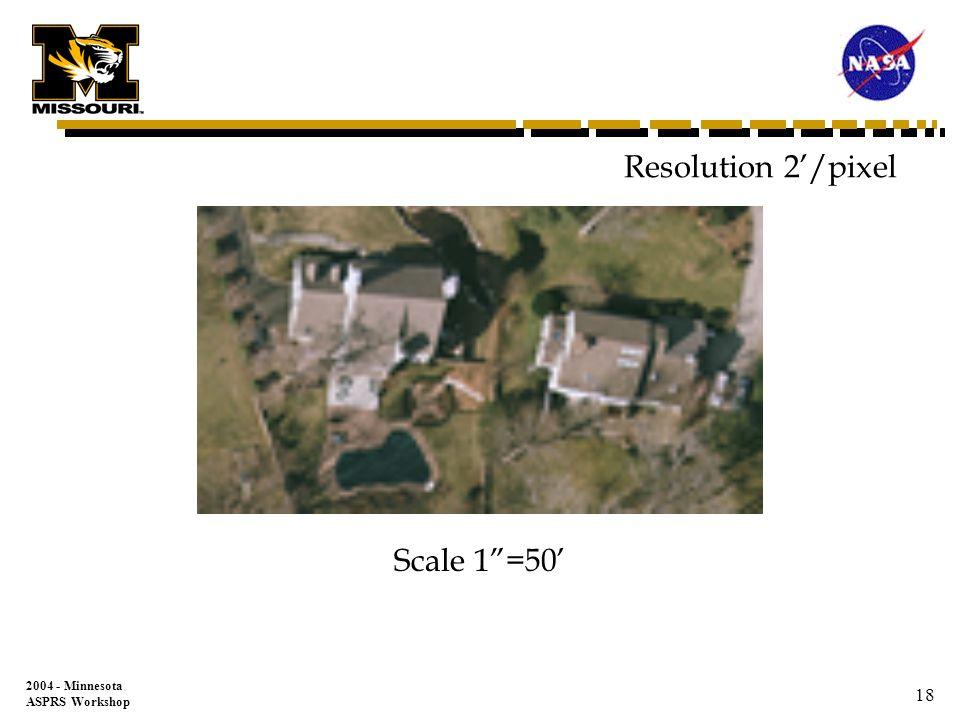 2004 - Minnesota ASPRS Workshop 17 Resolution 1/pixel Scale 1=50