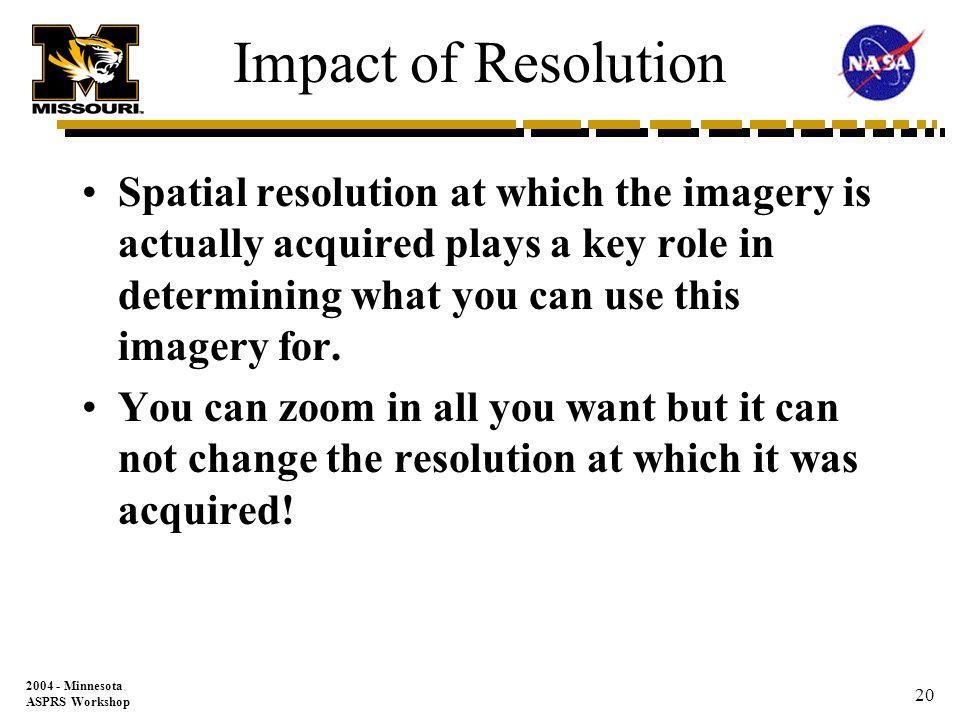 2004 - Minnesota ASPRS Workshop 19 Resolution 4/pixel Scale 1=50