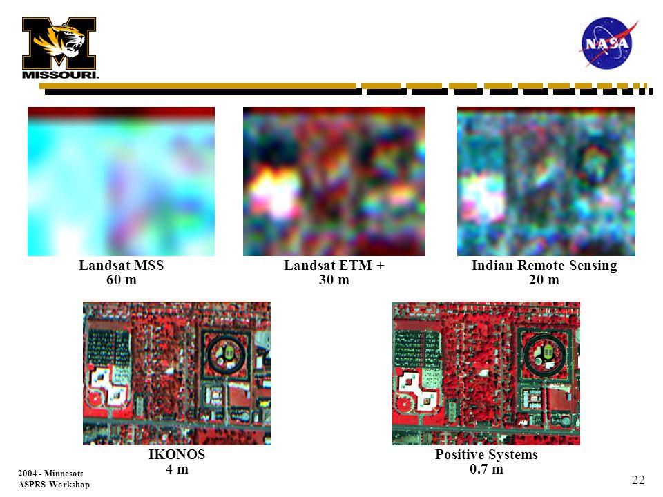 2004 - Minnesota ASPRS Workshop 21 Landsat 7 ETM+ 15 m SPOT 10 m Indian Remote Sensing (IRS) 5 m IKONOS 1 m