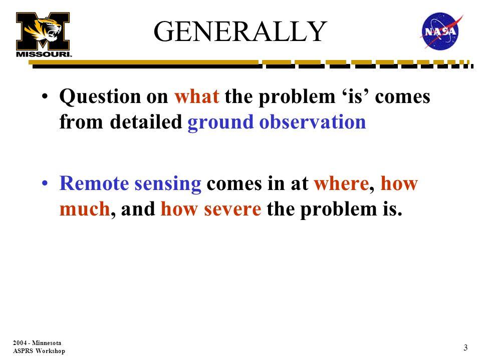 2004 - Minnesota ASPRS Workshop 2 What is Remote Sensing.