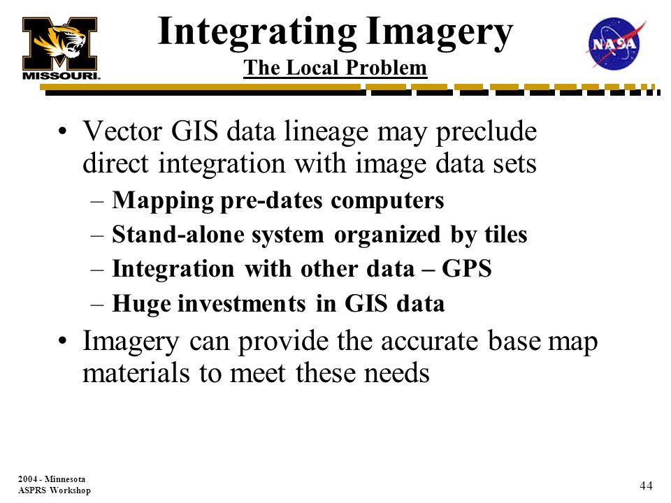 Minnesota ASPRS Workshop 43 The next series of slides will present a tool used to integrate legacy GIS vector information with newer and more accurate imagery data More Involved Integration Issues