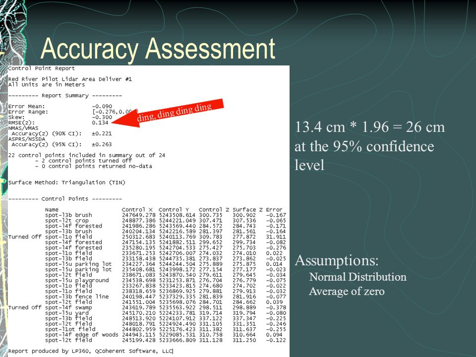 Accuracy Assessment ding, ding ding ding 13.4 cm * 1.96 = 26 cm at the 95% confidence level Assumptions: Normal Distribution Average of zero