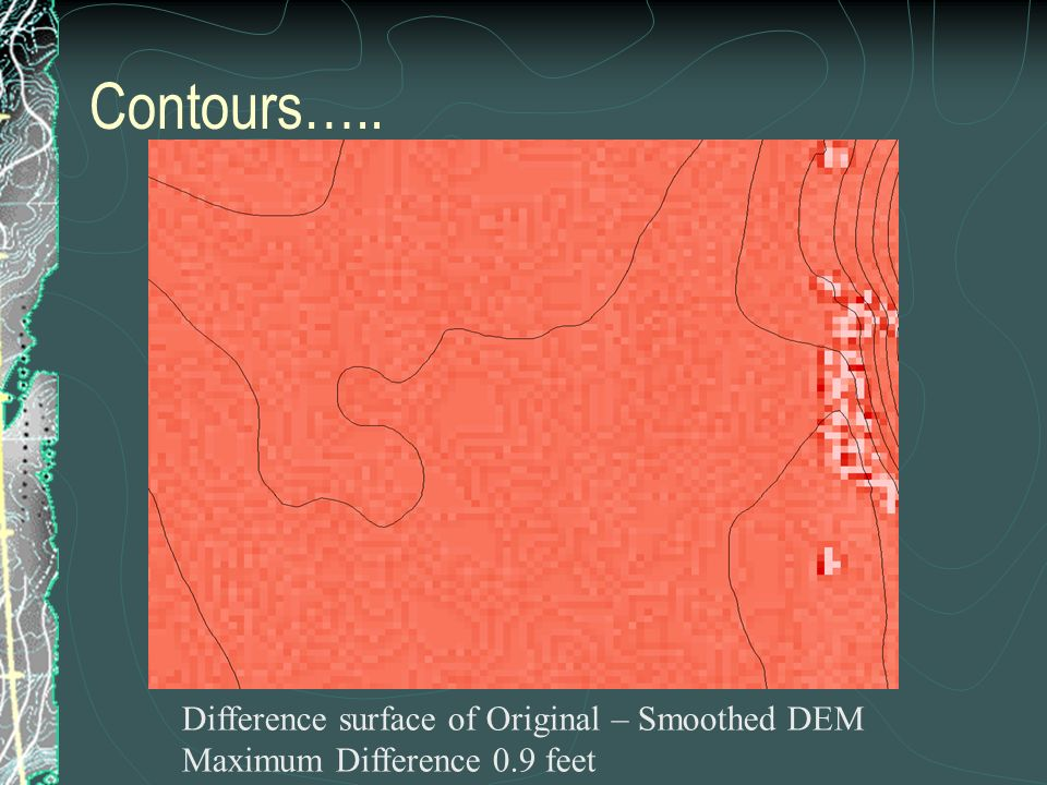Difference surface of Original – Smoothed DEM Maximum Difference 0.9 feet