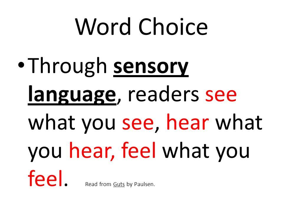 Word Choice Specific Descriptive Language: Using Descriptive language is like the author calling it as he sees it.