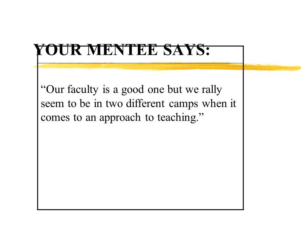 YOUR MENTEE SAYS: Our faculty is a good one but we rally seem to be in two different camps when it comes to an approach to teaching.