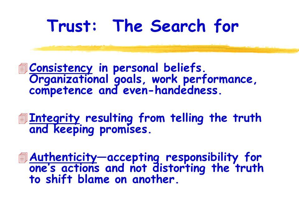 Trust: The Search for 4Consistency in personal beliefs.