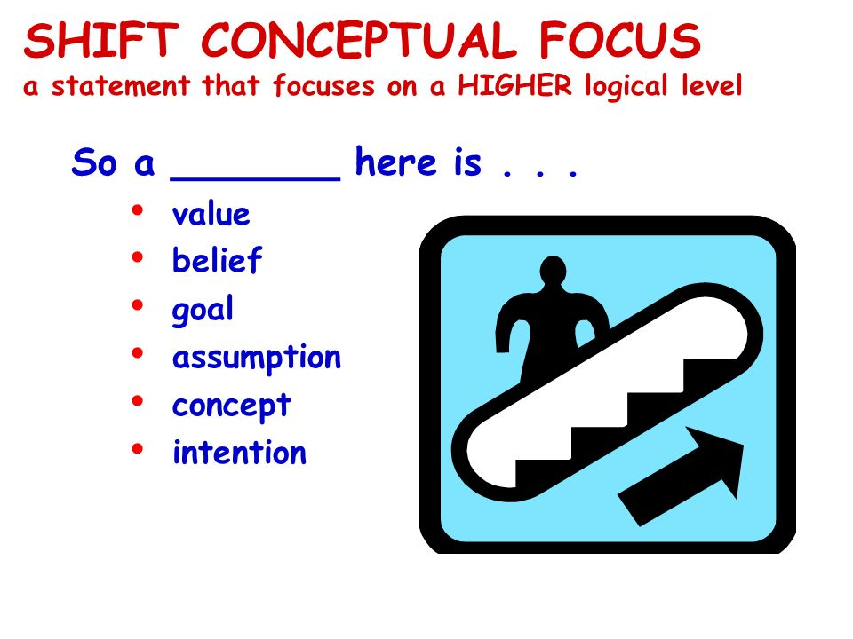 SHIFT CONCEPTUAL FOCUS a statement that focuses on a HIGHER logical level So a _______ here is... value belief goal assumption concept intention