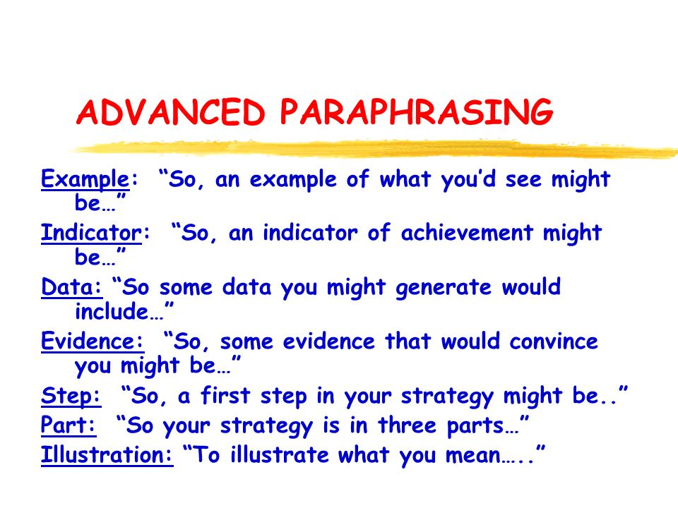 ADVANCED PARAPHRASING Example: So, an example of what youd see might be… Indicator: So, an indicator of achievement might be… Data: So some data you might generate would include… Evidence: So, some evidence that would convince you might be… Step: So, a first step in your strategy might be..