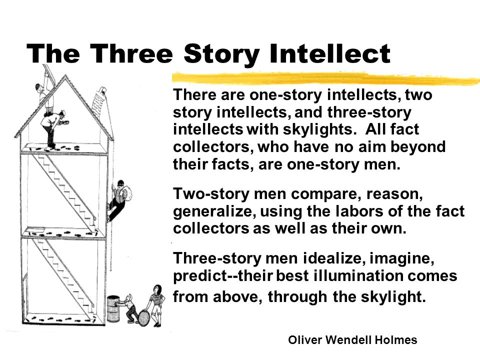 The Three Story Intellect There are one-story intellects, two story intellects, and three-story intellects with skylights. All fact collectors, who ha