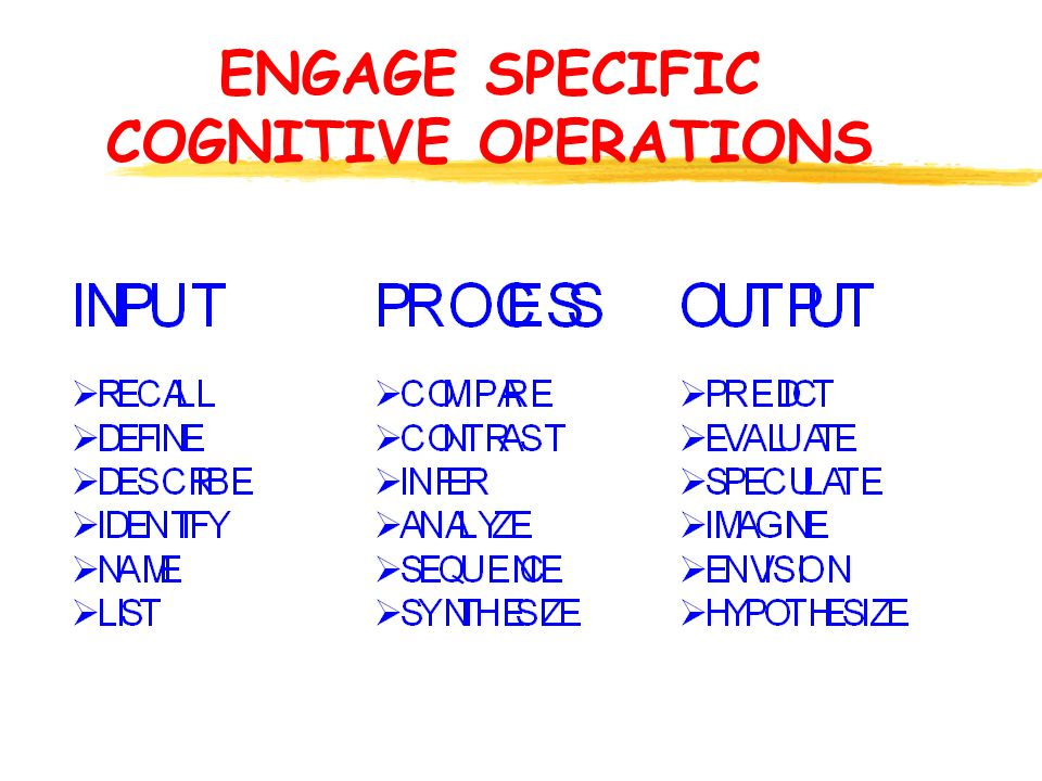 ENGAGE SPECIFIC COGNITIVE OPERATIONS