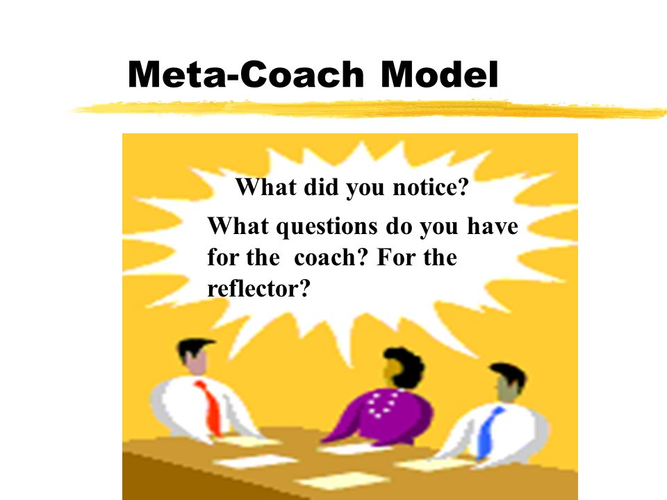 Meta-Coach Model What did you notice What questions do you have for the coach For the reflector