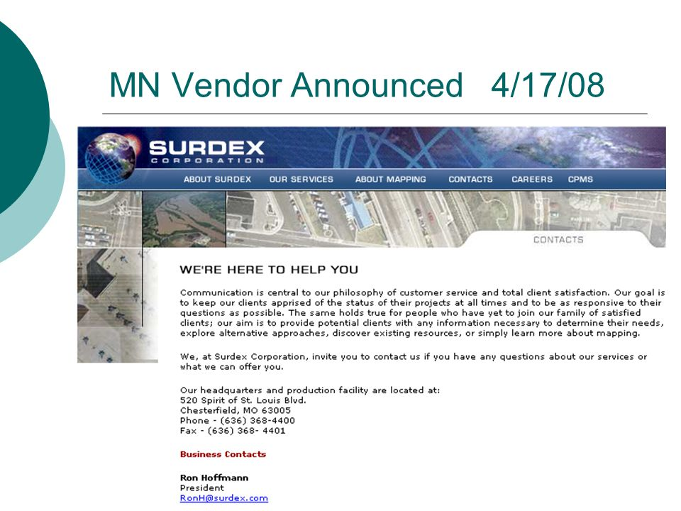 MN Vendor Announced 4/17/08