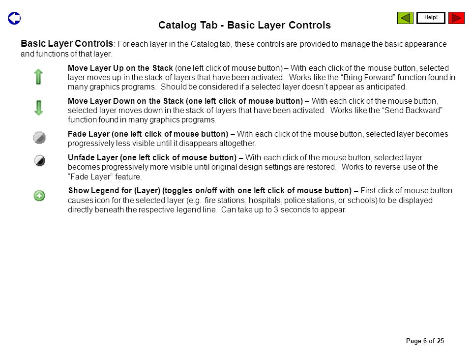 Basic Layer Controls: For each layer in the Catalog tab, these controls are provided to manage the basic appearance and functions of that layer. Move