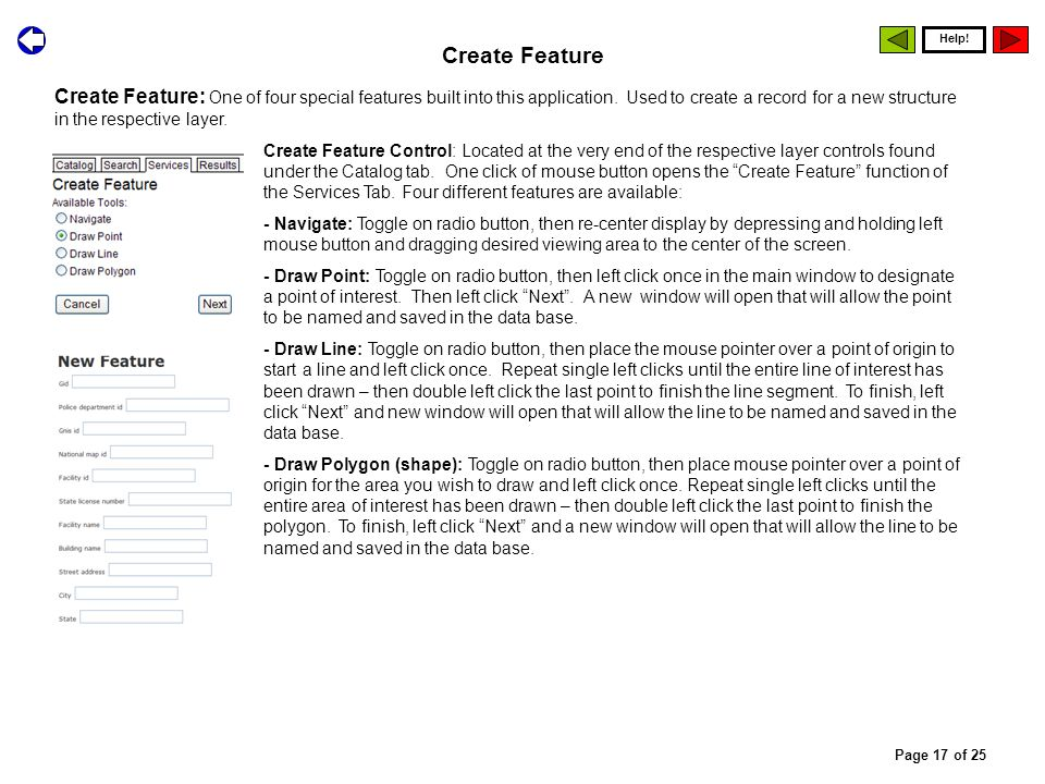 Create Feature: One of four special features built into this application.