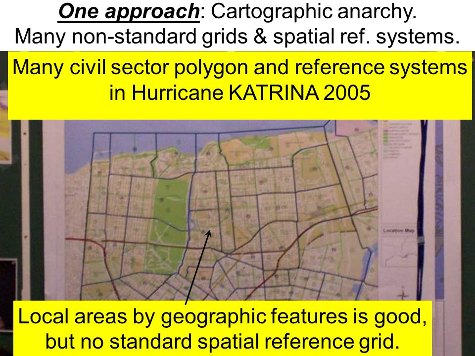 Local areas by geographic features is good, but no standard spatial reference grid. Many civil sector polygon and reference systems in Hurricane KATRI