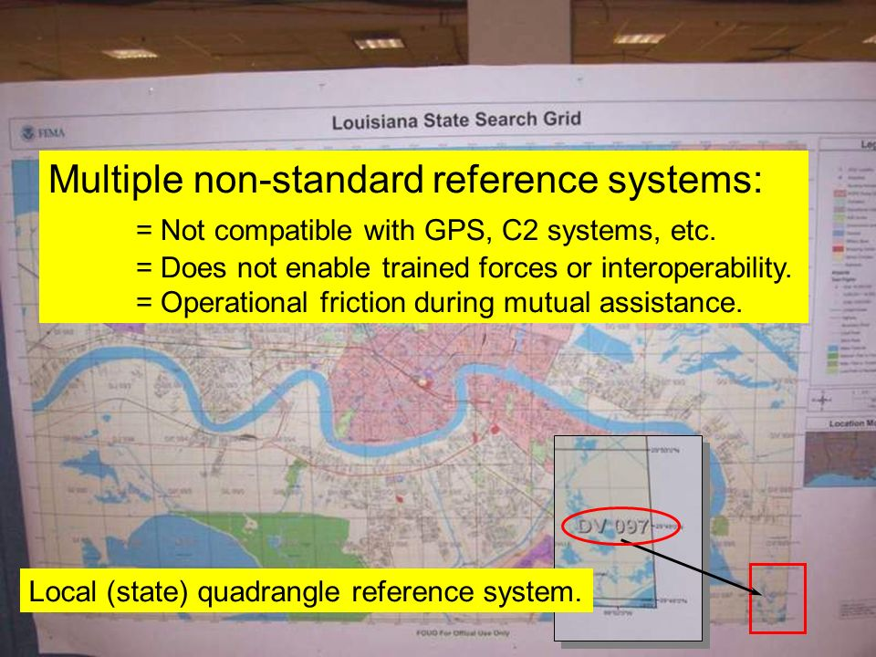 Multiple non-standard reference systems: = Not compatible with GPS, C2 systems, etc. = Does not enable trained forces or interoperability. = Operation