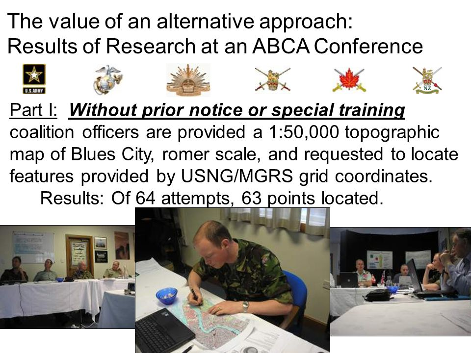 The value of an alternative approach: Results of Research at an ABCA Conference Part I: Without prior notice or special training coalition officers ar