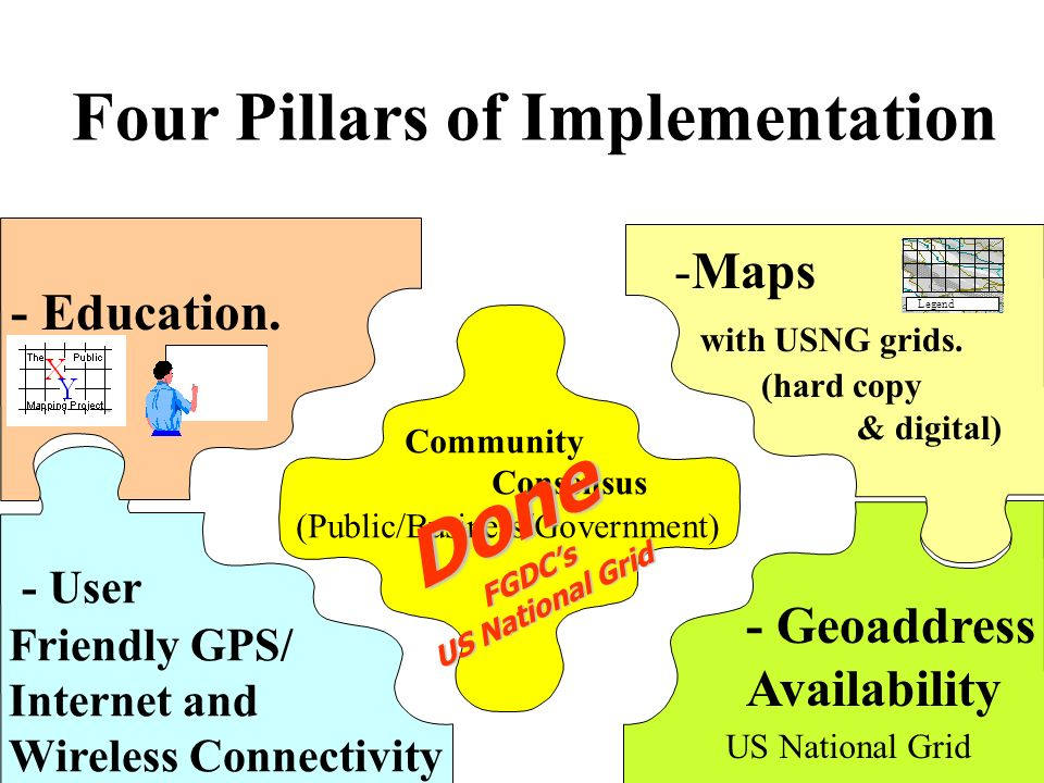 - Education. -Maps with USNG grids. (hard copy & digital) - User Friendly GPS/ Internet and Wireless Connectivity Community Consensus (Public/Business