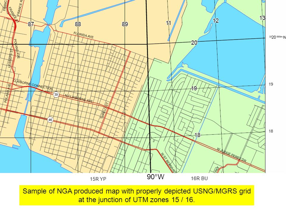 Sample of NGA produced map with properly depicted USNG/MGRS grid at the junction of UTM zones 15 / 16.
