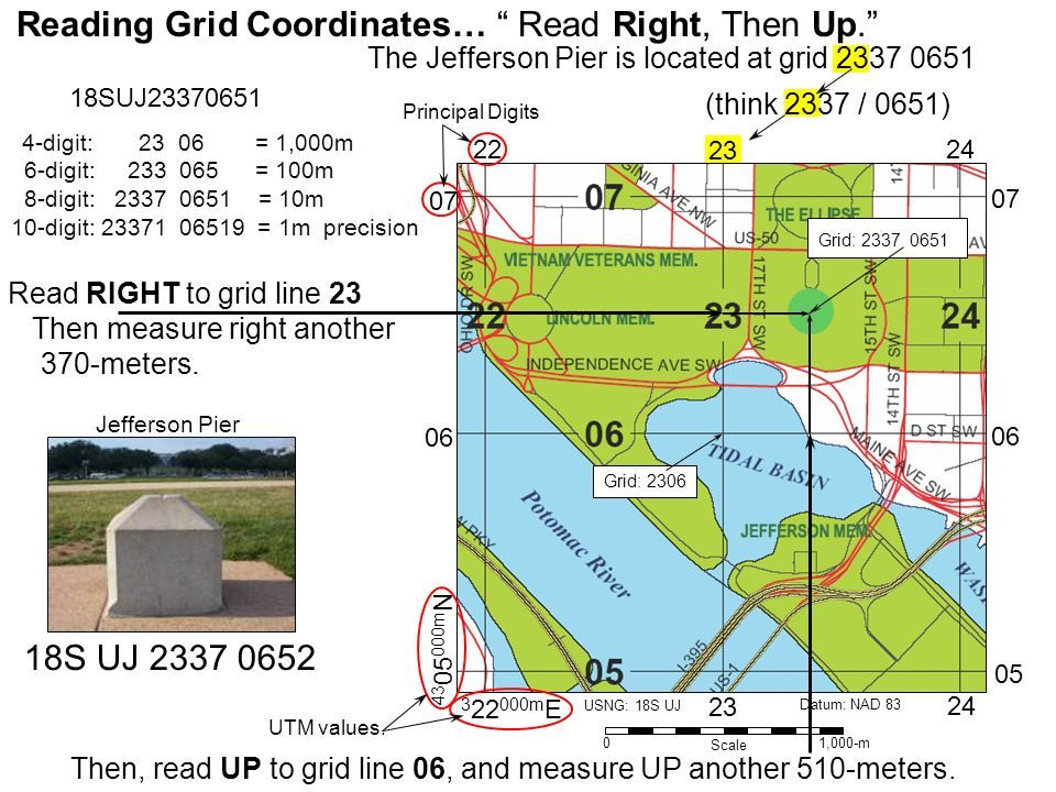The Jefferson Pier is located at grid 2337 0651 (think 2337 / 0651) Reading Grid Coordinates… Read Right, Then Up. Read RIGHT to grid line 23 Then mea