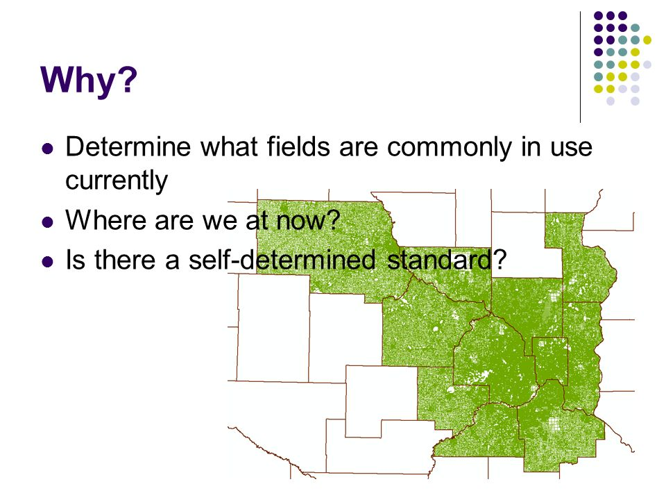 Why? Determine what fields are commonly in use currently Where are we at now? Is there a self-determined standard?